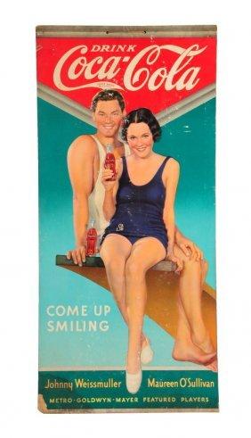 1930's Coca - Cola Weissmuller Cardboard Poster.