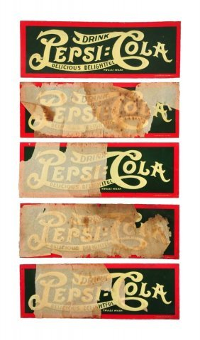 Lot Of 5: 1910 Pepsi - Cola Embossed Tin Signs.