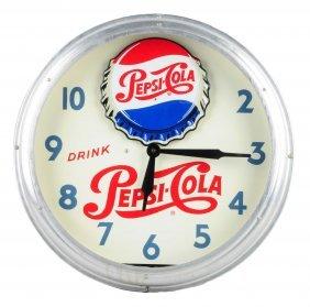 Ca. 1948 Pepsi - Cola Neon Rocking Bottle Clock.