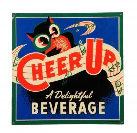 1940's - 50's Cheer Up Embossed Tin Sign.