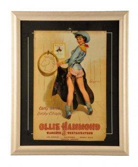 1940's Ollie Hammond Restaurant Paper Poster.