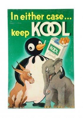 1950's Kool Cigarettes Cardboard Poster.