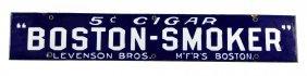 Early Porcelain Boston-smoker Cigar Strip Sign.