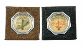 Lot Of 2: 1930's Leather Desk Thermometers.