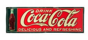 1926 Embossed Tin Coca - Cola Bottle Sign.