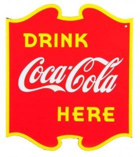 1940 Coca - Cola Canadian Porcelain Flange Sign.