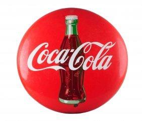 1950's Coca - Cola Porcelain Button Sign.