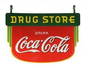 1930's Porcelain Drug Store Coca Cola Sign.