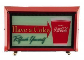 1950's Coca - Cola Lighted Cup Sign.