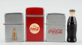 Lot Of 4: Coca-cola Lighters.