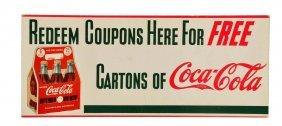 Late 1930's Coca - Cola Cardboard Sign.