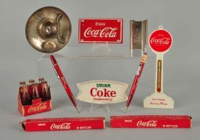 Lot Of 8: Assorted Small Coca - Cola Items.