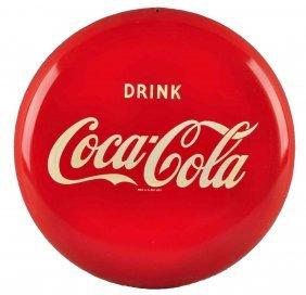 1980's Coca - Cola Reproduction Tin Button Sign.