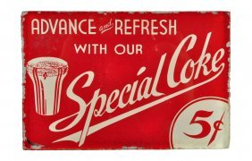 Ca. 1940's Special Coke Reverse On Glass Sign.