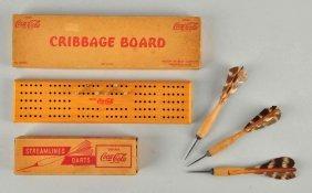 1940's Coca - Cola Darts And Cribbage Board.