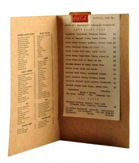 1930's Hawaiian Menu And Coca - Cola Clip.
