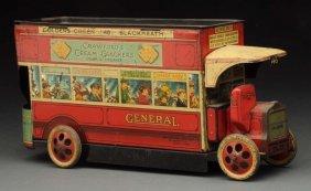 English Tin Litho Double Decker Bus Biscuit Tin.