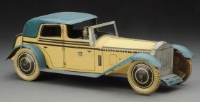 English Tin Litho Wind-up Rolls Royce Limousine.