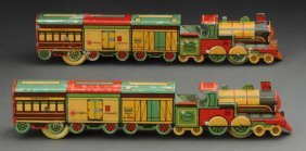 Lot Of 2: Early Foreign Made Tin Litho Trains.