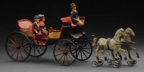 Early European Made Twin Horse Drawn Open Carriage