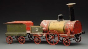 Early French Handpainted Tin Train Floor Toy.