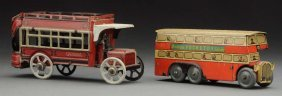 Lot Of 2: European Tin Litho Nickel-size Bus Toys.