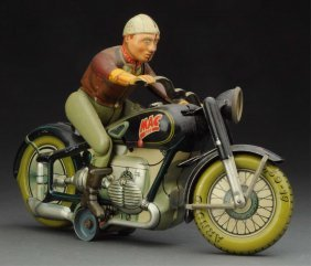 German Tin Litho Wind-up Mac The Motorcyclist.