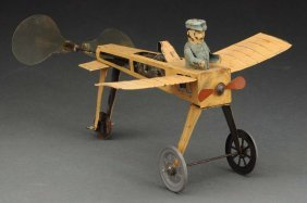 Early German Tin Wind Up Single Wing Airplane Toy.