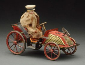 Unusual German Tin Litho Wind-up Automobile Toy.