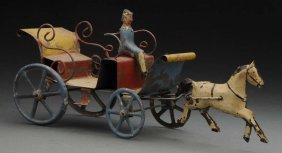 European Hand Painted Tin Horse Drawn Wagon.