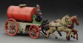 German Tin Litho Orobr Horse Drawn Water Wagon.