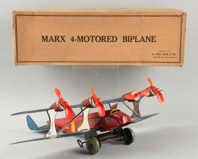 Marx Tin Litho Wind-up U.s. Mail Biplane.