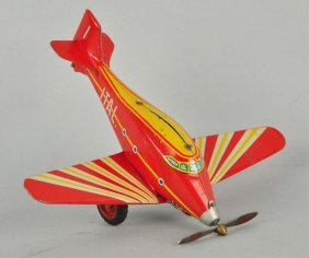 Italian Tin Litho Wind-up Airplane Toy.