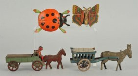 Lot Of 4: German & Japanese Penny Toy Type Items.