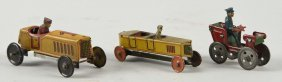 Lot Of 3: German Tin Litho Penny Toy Type Autos.