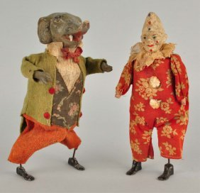 Lot Of 2: Early French Clockwork Waddling Figures.