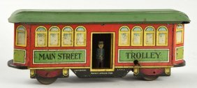 "German Tin Litho Nifty ""main Street"" Trolley."