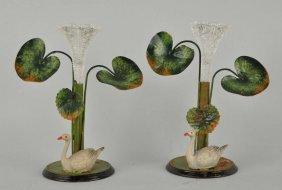 Pair Of Ornate German Heyde Swan Epergne.