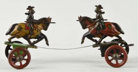Scarce German Tin Litho Knights Fighting Toy.