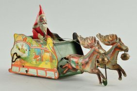 Strauss Tin Litho Wind-up Santee Claus Toy.