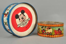 Lot Of 2: Walt Disney Tin Litho Toy Drums.