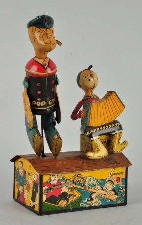 Marx Tin Litho Popeye & Olive Oyl Jiggers Toy.