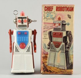 Japanese Tin Litho Battery Op Chief Robot Man.