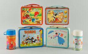 Lot Of 4: Assorted Lunch Boxes With Thermos.