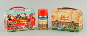 Lot Of 2: Fire Fighters & Chuck Wagon Lunch Boxes.