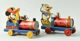 Lot Of 2: Fisher Price Paper On Wood Choo-choos.