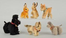 Six Steiff Mohair Miniature Animals With Id.