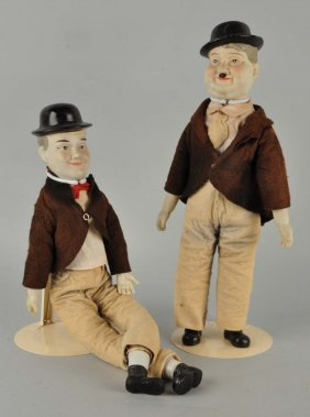 Pair Of Vintage Laurel & Hardy Bisque Dolls.