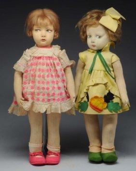Lot Of 2: Felt Cloth Dolls.