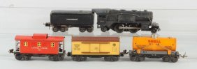 Lot Of 5: Lionel No.258 Locomotive & Freight Cars.